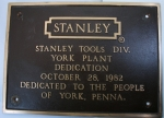 STANLEY FACTORY BRONZE PLAQUE - 527A