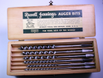 RUSSELL JENNINGS/ STANLEY AUGER BIT SET IN WOOD BOX  - 50D