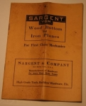 SARGENT & CO. WOOD BOTTOM AND IRON PLANES CATALOGUE, 1913